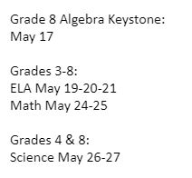PSSA Testing Dates Announced